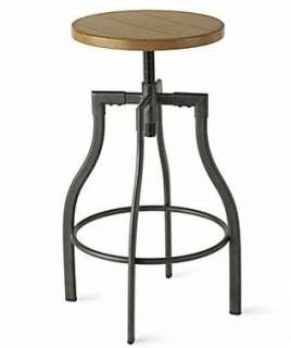 URBAN Oak & Metal INDUSTRIAL BAR STOOL Drafting Chair Kitchen Counter