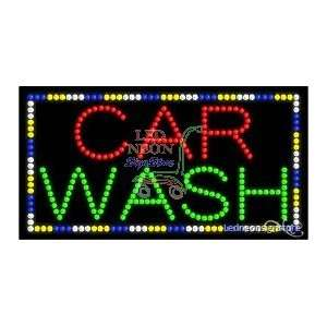 Car Wash LED Business Sign 17 Tall x 32 Wide x 1 Deep