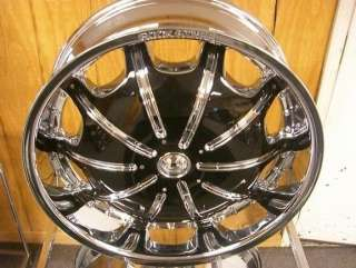 24 INCH RIMS AND TIRES WHEELS ROCKSTARR CHROME 557 PACKAGE