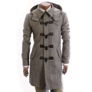 Doublju Mens CasualHood PEA Slim Trench Coat(W886) Clothing
