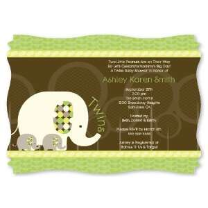 Twin Baby Elephants   Personalized Baby Shower Invitations